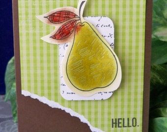 Gingham Pear ''Hello'' Card