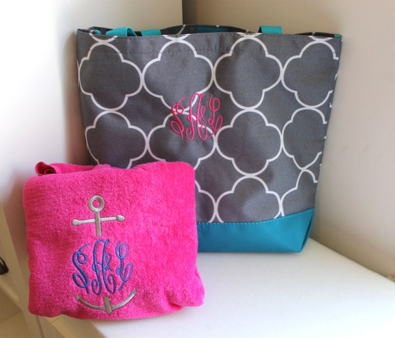Monogrammed Beach Towel And Bag Set
