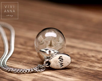 Small glass ball chain filled with dandelions (K280)
