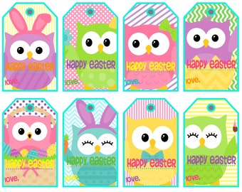 Printable easter gift tags craftbnb items similar to printable easter gift tags pastel color gingham negle