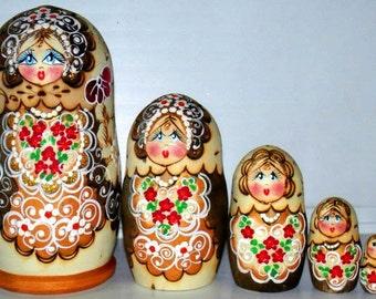 Matrioshka dolls Palenko green, red,  Burned nesting doll nested matryoshka. Doll holiday gift wood toy