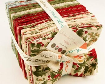 Under the Mistletoe by 3 Sisters,  Fabric by Moda, Pre-Release, Fat Quarter Bundle, Winter Themed Fabric, Christmas Fabric