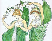 Large vintage art print of 1889 watercolor painting by Walter Crane, Lily of the Valley, 2 women holding large flower branch, Art Nouveau