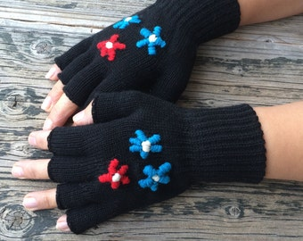 Flowers Embroidered Fingerless Gloves Black Fingerless Gloves Mittens Handknit Gloves Handwarmer Winter Fashion