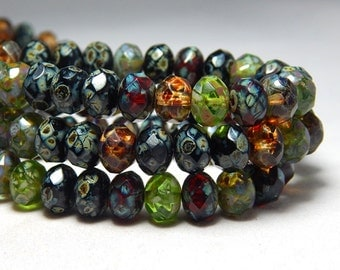 8x6mm Forest Mix Picasso Czech Beads, Green Beads, Earthy Beads, Mixed Crystal Beads, Glass Beads, Rondelle Beads, Faceted Beads, T-71C