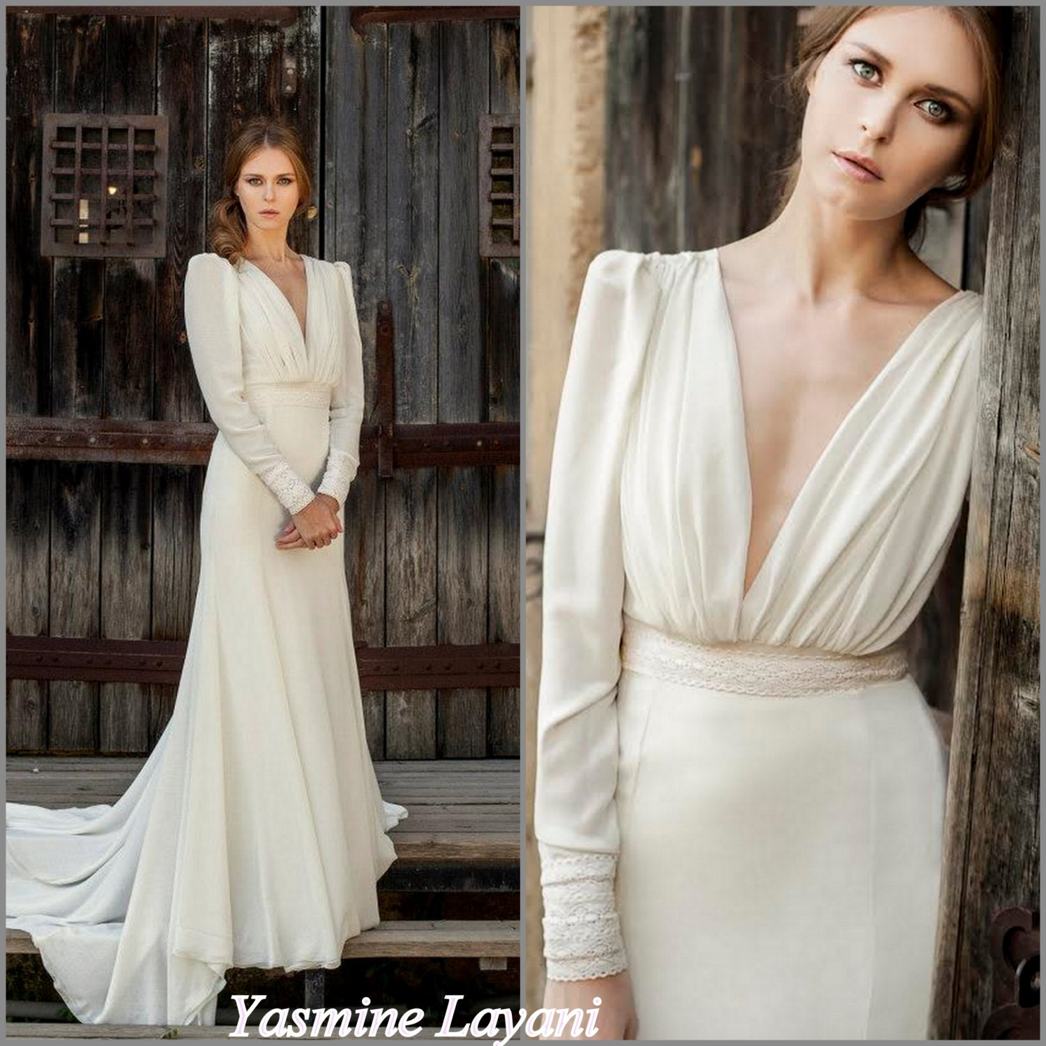 Long sleeve wedding dress chiffon wedding dress by for Long sleeve chiffon wedding dress