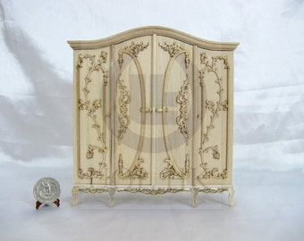 """Miniature 1"""" Scale Luxurious Wardrobe For Doll House[Unpainted]"""