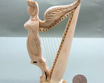 Miniature 1:12 Scale Doll House Wooden Angel Harp [Unpainted]