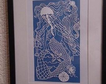 Mermaid & Seahorse Papercut Template