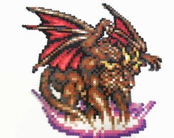 "Final Fantasy 6 Perler bead art  ""Apocrypha"" monster, video game decor, perler bead sprite, bead art, final fantasy, retrogaming, snes game"