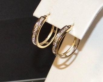 DIAMOND - Diamond Gold Hoop Earrings, Channel Set in 14K Gold