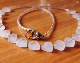 Quartz and Seed Bead Necklace with Heart Clasp