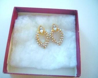 Vintage, MONET, Rhinestones and Gold Tone Metal, Glamorous  Pierced Earrings