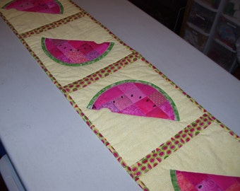 Watermellon table runner-table runner-table decoration-machine quilted and appliqued. Summer decoration