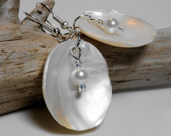Pearl in Natural Shell Earrings - Choice of colors