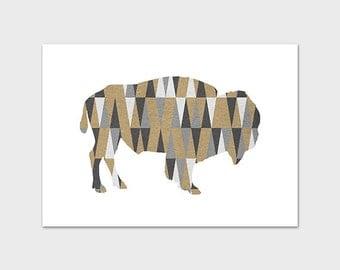 5x7 Buffalo Art Print, Buffalo PRINTABLE, Geometric, Neutral, Gray, Tan, Indie, Cabin Art, Mountain Art, Western Decor, Instant Download