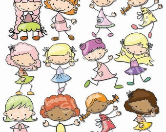 Girls Digital Clip Art, Cute Girls Images-Baby Girls Clipart, Printable Cute Girls, Birthday Party Scrabooking, Digital Clipart little girl.