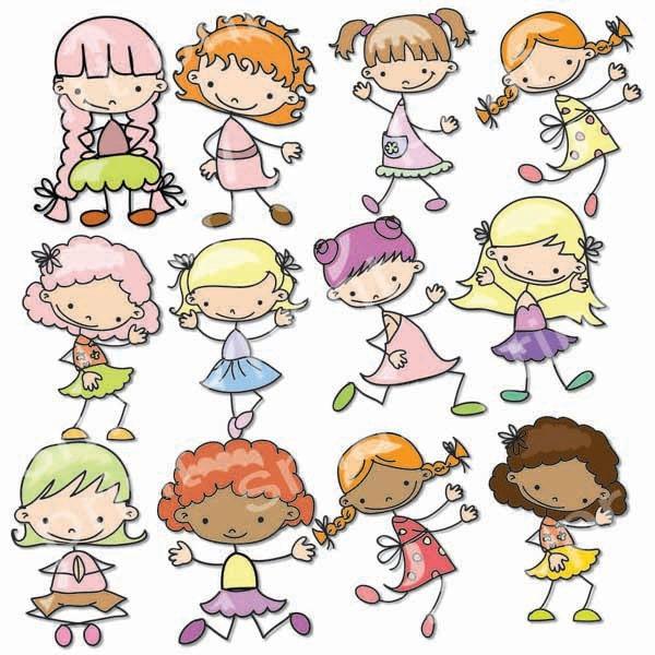 Girls Digital Clip Art Cute Girls Images-Baby Girls Clipart