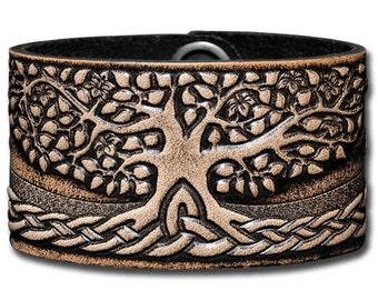 Leather Bracelet 40mm Celtic Tree of Life