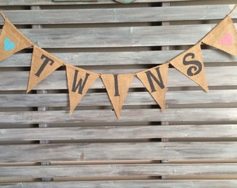 Twins Burlap Banner, Twin Boy and Girl Banner, Twins Sign, Twins Banner, Baby Shower, Twins Baby Shower