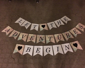 Let the Adventures Begin Banner, Let the Adventures Begin Sign, New Beginnings Banner