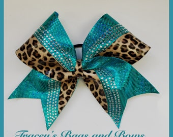 Cheer Bow~Teal hologram with rhinestones and cheetah print~Softball Bow