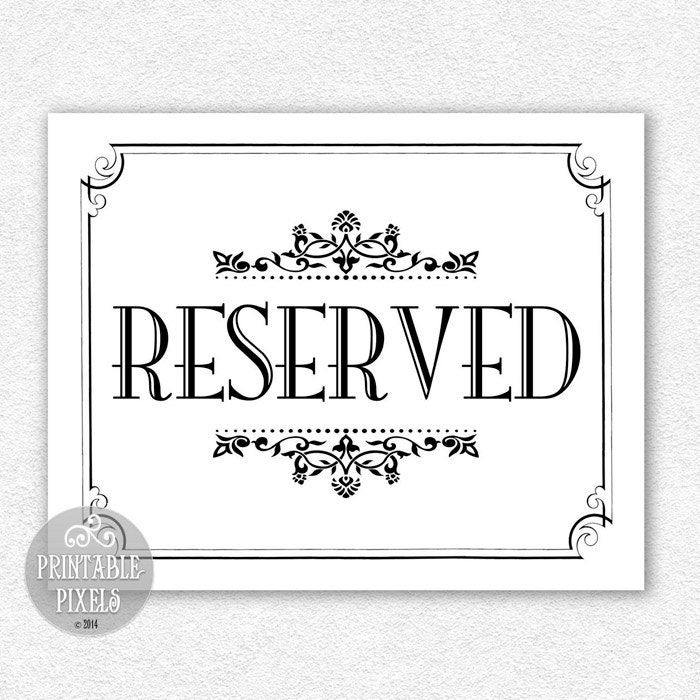 It's just an image of Exceptional Printable Reserved Signs