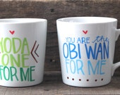 Star Wars Mug - Hand Painted Mug - Yoda One for Me Obi Wan for Me Star Wars Mug Set - Boyfriend Mug - Coffee - Star Wars - Best Friend Mug