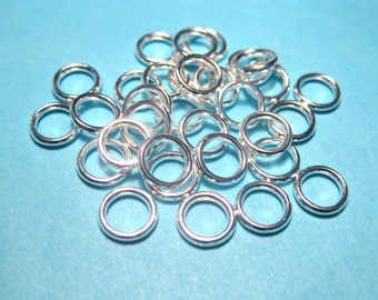 50pcs Silver Plated Jump Ring 8mm 15ga Link Closed Ring Jewelry Supplies