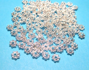 100pcs Bright Silver Plated Daisy Spacer Metal Beads 4mm