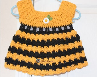 Crochet Bumble Bee Dress with Headband