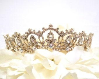Rhinestone Bridal Tiara, Wedding Tiara, Crystal Bridal headpiece, Dramatic headpiece, Gold Tiara, Silver Tiara