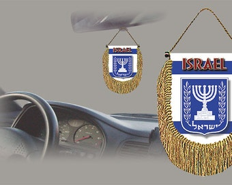 Israel rear view mirror world flag car banner pennant