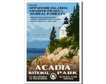 "Acadia National Park WPA-style poster. Color. 13"" x 19""  Original artwork, signed by the artist!"