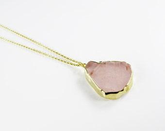 DEHLIA Necklace with rose quartz pendant