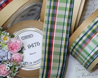 Vintage GREEN BLUE PLAID Ribbon Stripe Gingham Trim Swiss Rayon Millinery Trim Ribbonwork Check FrenchTrim Millinery French Hat Supply