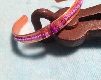 Copper Bracelet, Glass Beads
