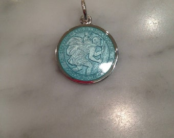 Medium Aqua Saint  Christopher Sterling Silver Charm