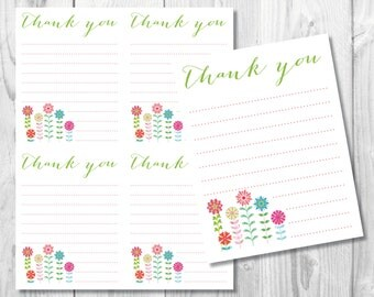 DIY Thank You Note Cards/ Printable Thank You Cards/Flower Thank You