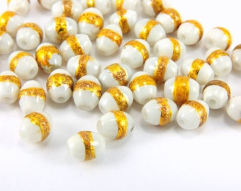 White Oval Glass Beads, 50pcs Oval Glass Beads, 8mm x 6mm Glass Beads, Oval Glass Gilded Beads, Glass Bead Findings, Oval Beads Findings