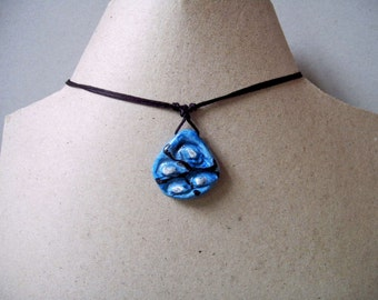 Blue Pendant Necklace Unique Jewelry Handmade, Artistic jewelry, Gift for Her, Gift Idea