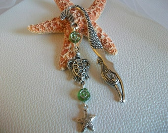 Beach Themed Mermaid Bookmark with Sea Turtle Starfish Charm, Mermaid Lover's Gift, Mermaid Book Accessory, Book Reader's Gift