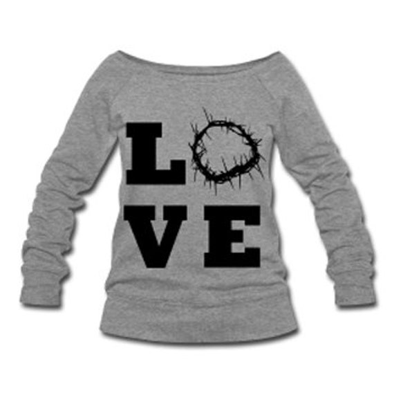 Christ Love Wide Neck Off Shoulder Slouchy Women's Sweatshirt - Gray