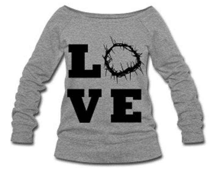 Christ Love Wide Neck Off Shoulder Slouchy Women's Sweatshirt - Gray