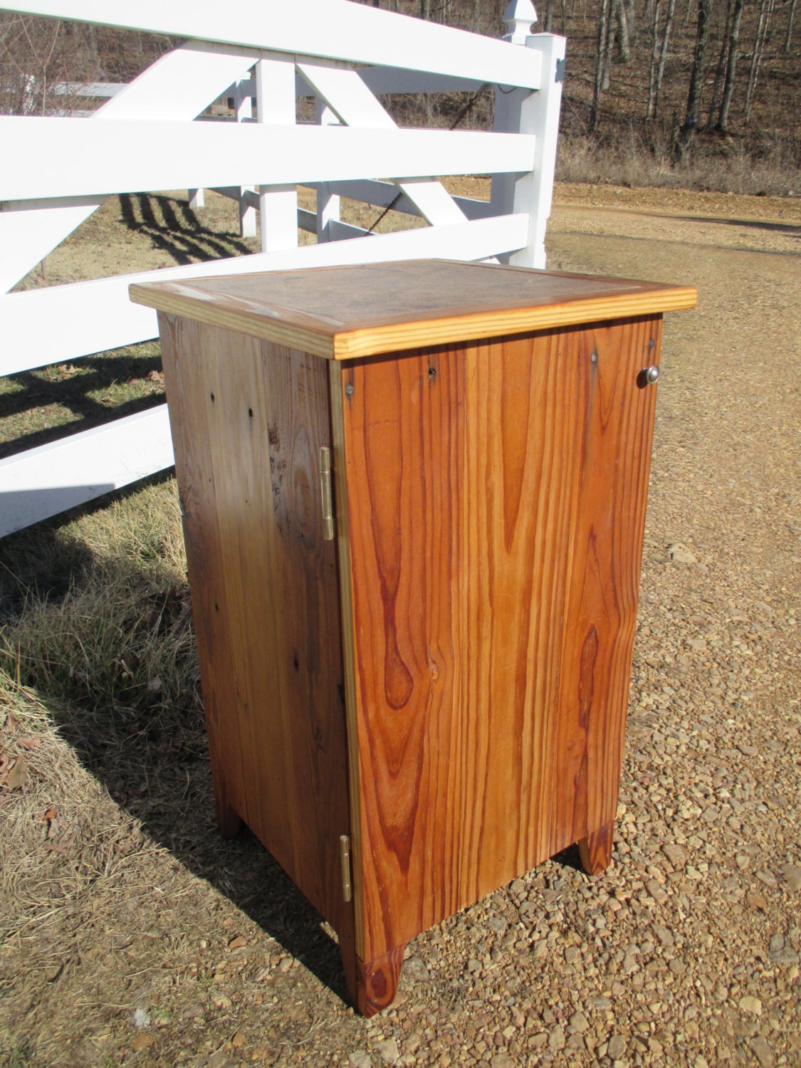 bathroom cabinet made from reclaimed wood tile top