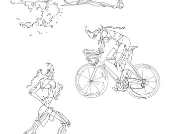 Art Print of Female Triathlon Drawing
