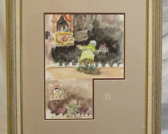 Peter Atkins original framed painting watercolour  English art cartoon Dreams humour performing acting Freight cost extra  etsy global gift