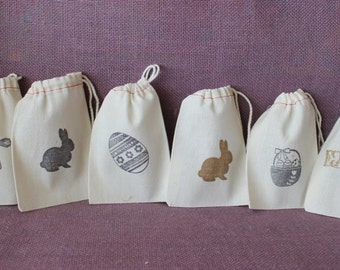 """Small muslin spring bag with drawstring.  Easter favor bag.  Bunny bag. 3.5"""" x 5"""".  Spring favor.  Muslin bunny sack.  Easter party favor"""