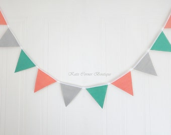 Coral, teal, grey nursery bunting baby shower or wedding decor, customise your colours