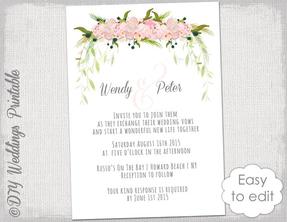 Wedding invitation template Printable wedding invitations